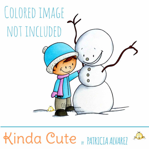 Winter digital stamp with boy and snowman
