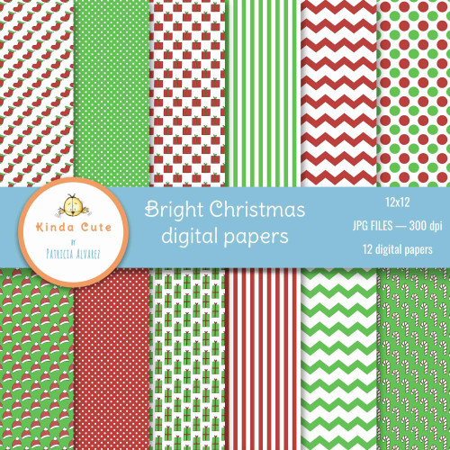 Bright Christmas digital papers in red and green colors.