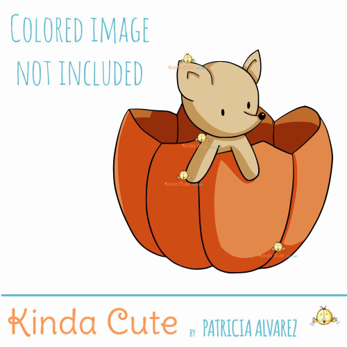 Fox in a pumpkin digital stamp