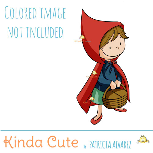 Little red riding hood digital stamp. Black and white only