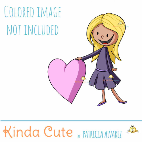 Girl with a heart digital stamp