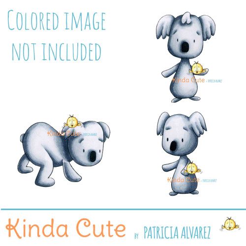 Koala digital stamps. Black and white only. Colored for reference.