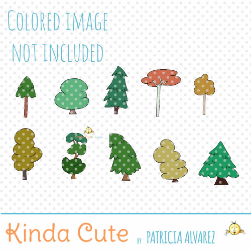 Tree filler digital stamp set
