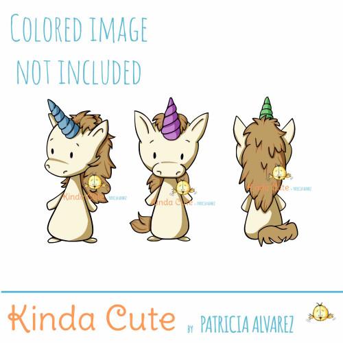 Unicorn digital stamp set