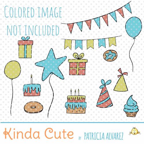 Birthday filler digital stamp set