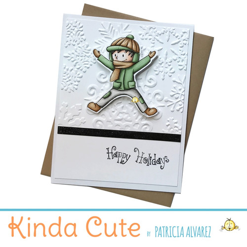 Happy holidays card with a boy in the snow