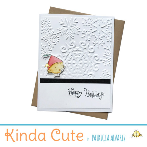 Embossed holiday card with a bird