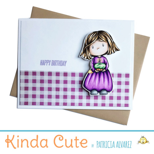 Happy birthday card with a girl holding a cupcake. h20