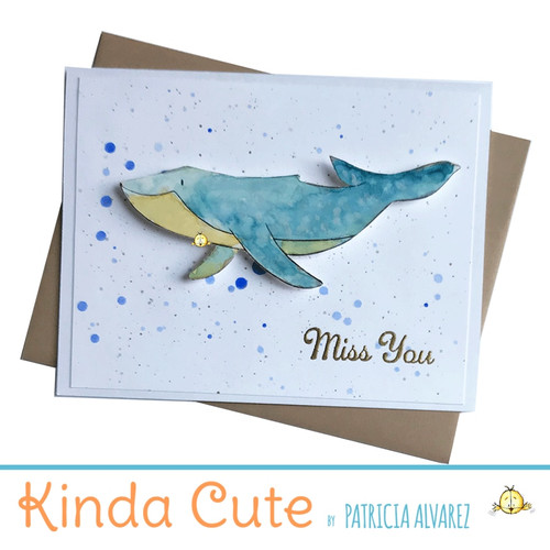 Miss you card with a whale