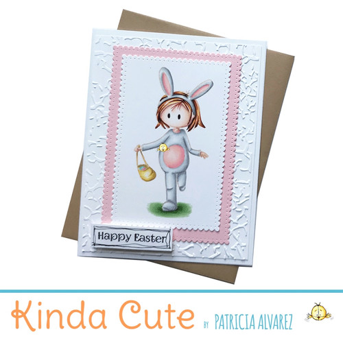 Adorable and unique handmade easter card with an illustration of a girl in a bunny costume running in an egg hunt party. Embossed background and white and pink colors complement this cute card.