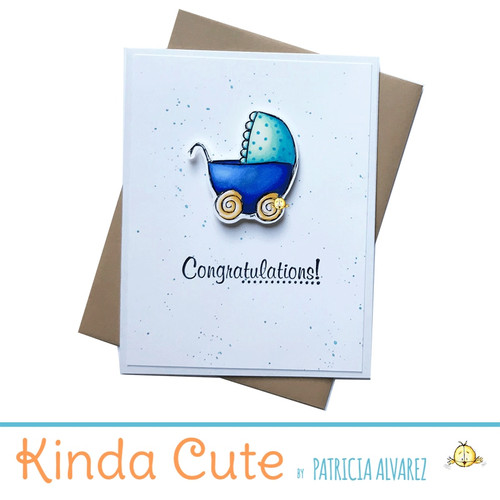 new baby card with blue stroller