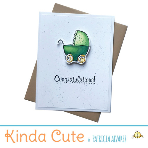 new baby card with green stroller