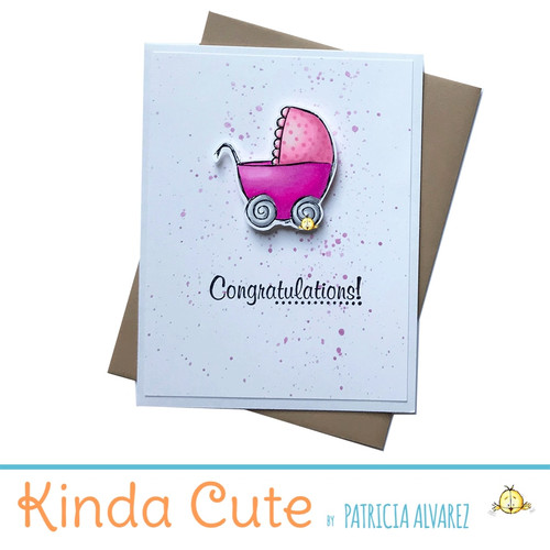 new baby card with pink stroller