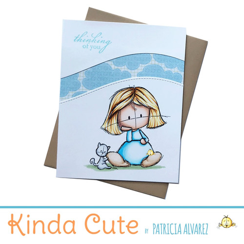 thinking of you card with a girl and a cat