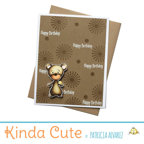 Embossed happy birthday card with a bear. h53