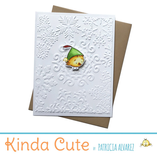 Blank winter embossed card with a bird in a green hat. h56