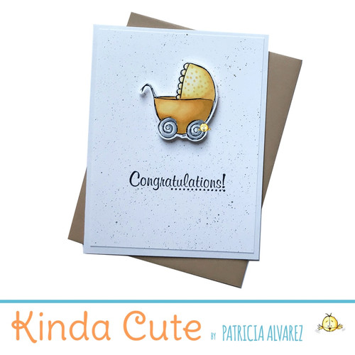 Congratulations baby card with a yellow stroller. h57