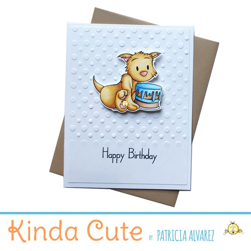 Happy birthday card with a cat and a cake. h58