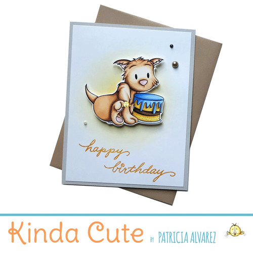 Happy birthday card with a brown cat and a cake. h60