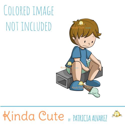 Boy and ice cream digital stamp