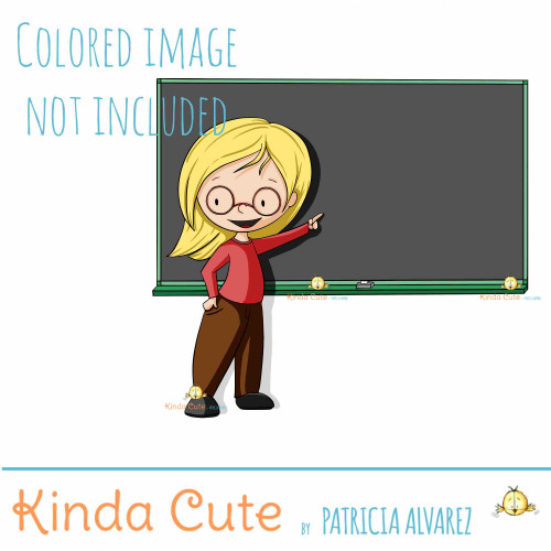 teacher in front of the blackboard digital stamp