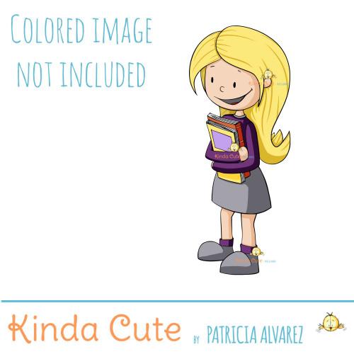 School girl digital stamp
