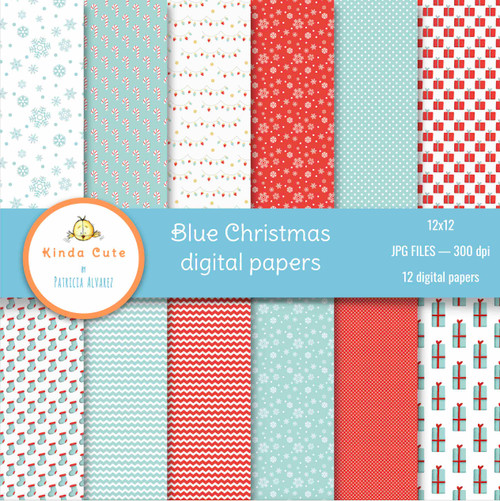 blue christmas digital papers