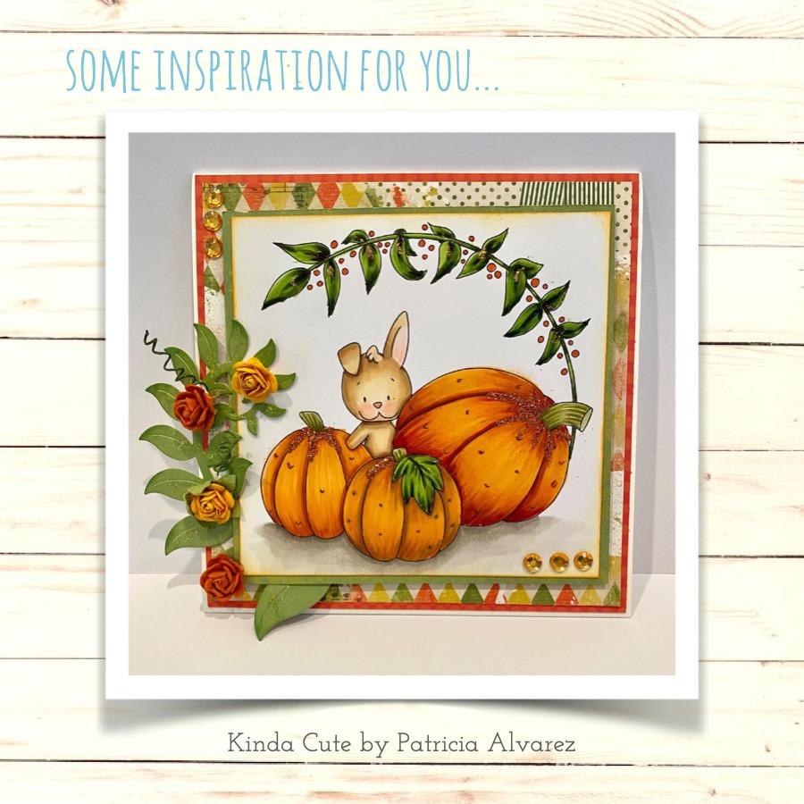 Rabbit among pumpkins digital stamp by Kinda Cute by Patricia Alvarez