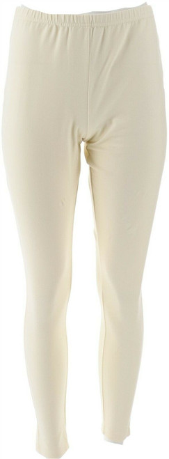 Women with Control Reg Fit Pull-on Knit Leggings Winter White L NEW A235949