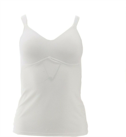 Rhonda Shear Everyday Sweetheart-Neck Molded Cup Camisole White L NEW 406-902