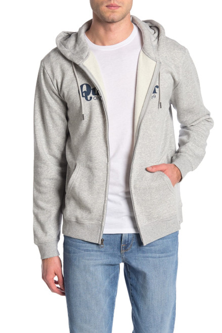 Quiksilver Twin Fin Mate Zip Up Hoodie M Athletic Heather NEW