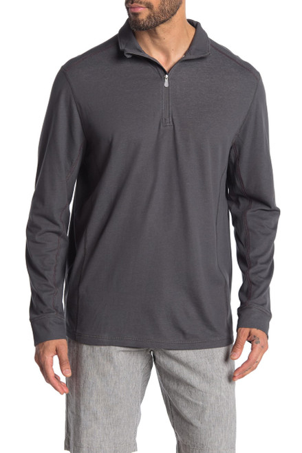 Tommy Bahama Paradise Valley Half Zip Pullover L Onyx NEW