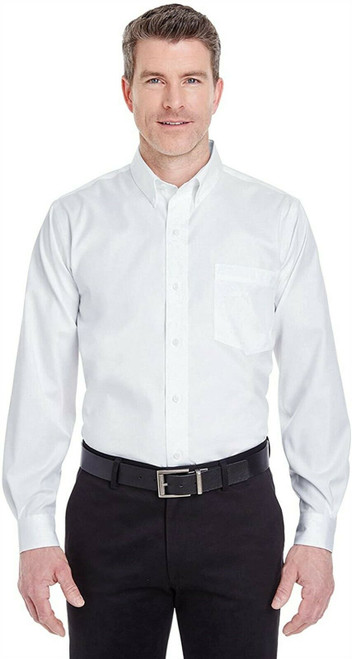 UltraClub 8380 Men's Solid Non-Iron Pinpoint Oxford Dress Shirt L WHITE NEW