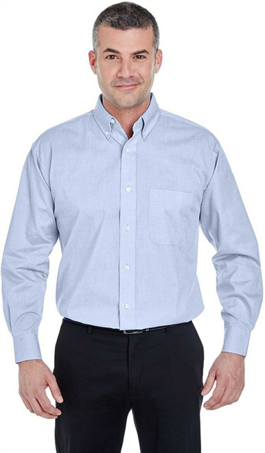Ultraclub Mens Long-Sleeve Performance Pinpoint 8360 L Light Blue NEW