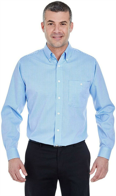 Ultraclub 8995 Men's Yarn-Dyed Micro-Check Woven S LIGHT BLUE NEW