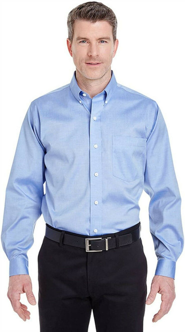 UltraClub 8380 Men's Solid Non-Iron Pinpoint Oxford Dress Shirt L BLUE NEW