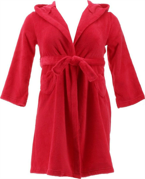 Lands' End G FLEECE SOLID ROBE Spiced Berry 6 NEW 475280