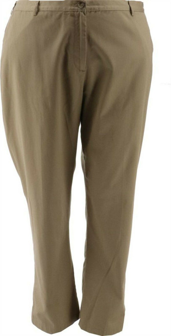 Lands' End FIT3 SO TWILL Elastic Band PANT Khaki 16W NEW 199773