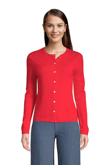 Lands' End Cashmere Cardigan Sweater Rich Red XL NEW 473823