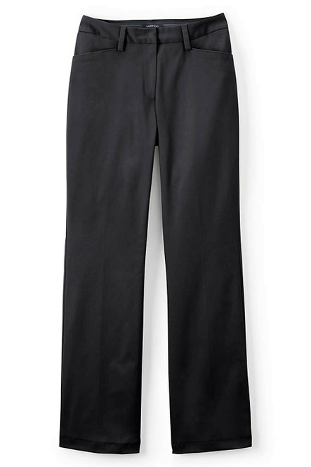 Lands' End Curvy Fit Plain Boot Cut Chino Pants Black 20X30 NEW 450658