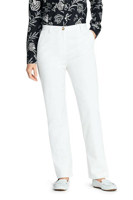 Lands' End 7 Day Elastic Back Comfort Waist Pants White 14X28 NEW 066131