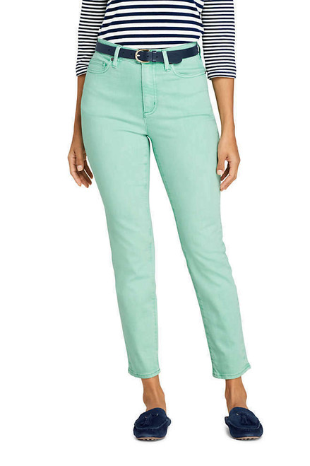 Lands' End High Rise Slim Straight Leg Ankle Jeans Color Washed Mint 10 NEW 508012