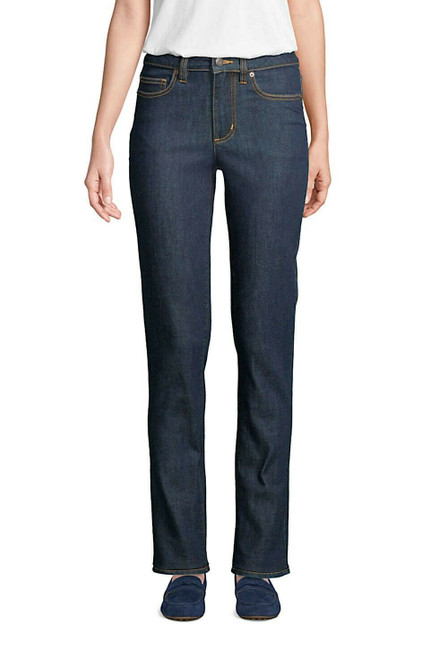 Lands' End Mid Rise Straight Leg Jeans Blue Deepest Indigo 8X36 NEW 502083