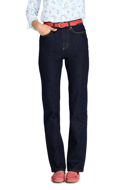 Lands' End High Rise Straight Leg Jeans Deepest Indigo 4X32 NEW 502085