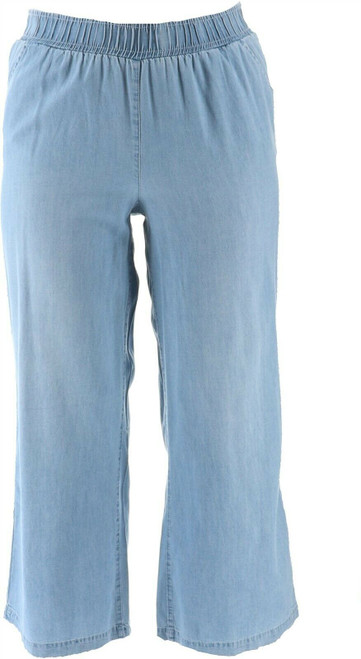 DG2 Diane Gilman SoftCell Denim Wide-Leg Pant Basic CHAMBRAY PL NEW 698-804