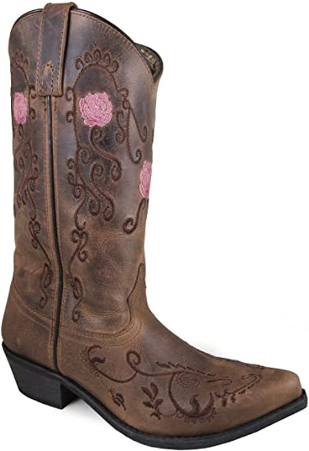 Smoky Mountain Women's Rosette Leather Boot Snip Toe 9 Brown Distressed NEW