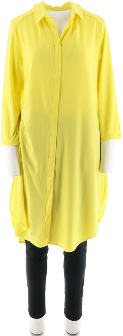 Women with Control 3/4 Slv Tall Tunic Pintuck Legging Set Limeade S NEW A273193