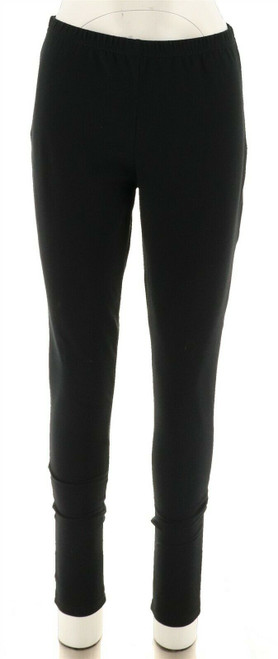 Women with Control Sleek Fit Elastic Waist Knit Leggings Black XST NEW A235955