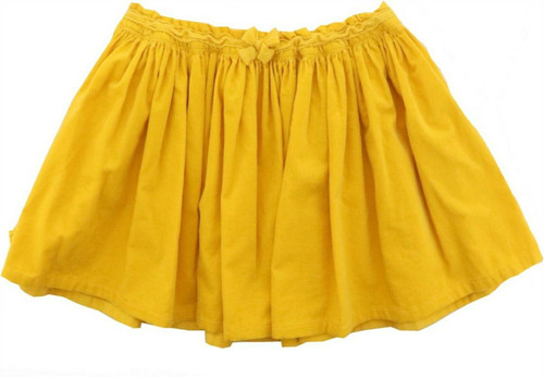 Lands' End G GATHERED CORD SKIRT Atlas Yellow M NEW 473601