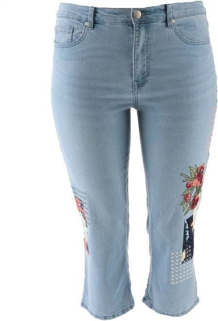 DG2 Diane Gilman Stretch Embroidered Cropped Jean Basic CHAMBRAY 8P NEW 654-662
